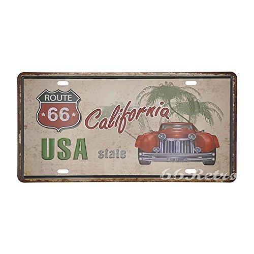 66retro Route 66Kalifornien, USA, geprägt Vintage Blechschild, Retro Auto Nummernschild, 30cm x 15cm