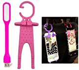 Iceberg Makers.in Combo of Multifunctional Cell Phone Holder Hanger Hanging Key-chain Stand for Car And Spider USB LED Light. (Colour May Vary as per availability) (PINK)