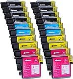 20 Multipack XL Brother LC-1100 , LC-980 , LC-985 Patronen Kompatible. 8 schwarz, 4 cyan, 4 magenta, 4 gelb für Brother DCP-145C, DCP-163C, DCP-165C, DCP-167C, DCP-185C, DCP-195C, DCP-197C, DCP-365CN, DCP-373CW, DCP-375CW, DCP-377CW, DCP-383C, DCP-385C, DCP-387C, DCP-395CN, DCP-585CW, DCP-6690CW, DCP-J125, DCP-J140W, DCP-J315W, DCP-J515W, DCP-J715W, MFC-250C, MFC-255CW, MFC-257CW, MFC-290C, MFC-295CN, MFC-297C, MFC-490CW, MFC-5490CN, MFC-5890CN, MFC-5895CW, MFC-6490CW, MFC-6890CDW, MFC-790CW, M