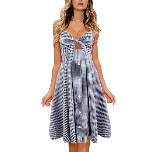B-commerce Womens Bowknot Lace Up Dot Print Kleid Damen Sommer Strand Tasten Sling Plissee...