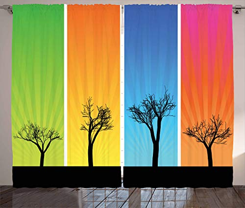 ABAKUHAUS Baum Rustikaler Gardine, Bunte Banner Herbst, Schlafzimmer Kräuselband Vorhang mit Schlaufen und Haken, 280 x 245 cm, Mehrfarbig