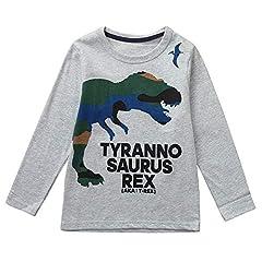 Idea Regalo - Topgrowth T Shirt Magliette Bambino Dinosauro Felpa Maglia A Maniche Lunghe Ragazzo Neonata Pullover Cartone Animato Lettera Stampata Camicetta del Bambini