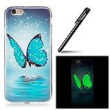 Case für iPhone 6S 4.7,BtDuck dünn Nacht-Leuchtende TPU Tasche für iPhone 6/6S 4.7 Hülle Etui Case Durchsichtig Schutzhülle Bumper Cover Tasche für iPhone 6 4.7 - Blauer Schmetterling