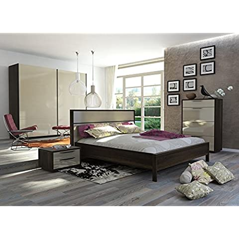 Composición Dormitorio Matrimonio completa Color Roble Americano y lacado Crema (con cajonera