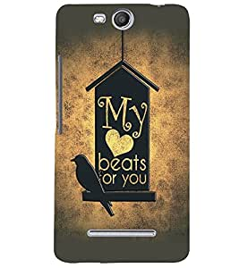 Fuson Premium My Heart Printed Hard Plastic Back Case Cover for Micromax Canvas Juice 3 Q392