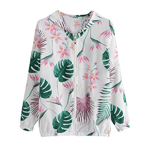 Overdose SeñOras De Las Mujeres Retro Floral O-Cuello Zipper Up Bomber Mejor Venden Chaqueta Casual Outwear (L, M-Verde)