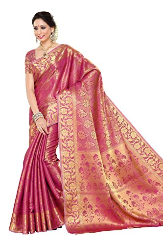 Mimosa Women\'s Traditional Art Silk Saree Kanchipuram Style, color :Pink(3245-197-SD-PNK)