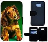 Flip Cover Schutz Hülle Handy Tasche Etui Case für (Samsung Galaxy S7 G930F, 1539 Dackel Welpe Hund Braun Grün Tier)