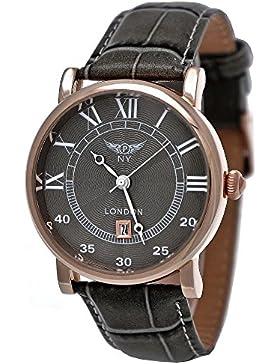 Elegante NY London Herren-Uhr Damen-Uhr Analog Unisex Quarz Leder Armband-Uhr Klassisches Design Grau Rose-Gold...