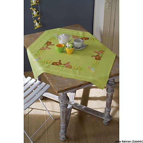 Vervaco PN-0150409 Decke Kaninchen/Ostern Kreuzstichpackung Stickpackung enthält vorgedruckte Tischdecke, Garn, Nadel und Anleitung. 80 x 80 cm, Aida, Weiß, 80 x 0, 30 cm