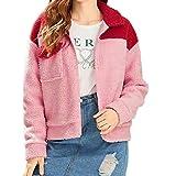 kurz Coat Mäntel Damen MYMYG Wolle Nähen Revers Sweatshirt Reißverschluss Langarm mit Tasche Jacke Winter warme Baumwolle Mantel Fleece künstliche Plüsch (Rosa,EU:42/CN-2XL)