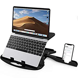 STRIFF Adjustable Laptop Stand Patented Riser Ventilated Portable Foldable Compatible with MacBook Notebook Tablet Tray Desk Table Book with Free Phone Stand(Black)