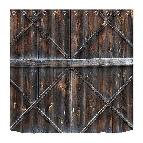 LB Personalizar Tablones de madera rústicos Cortina de la ducha,Impermeable Resistente al moho Tejido de poliéster Cortinas de baño para baño, 180X180cm, 12 anillos