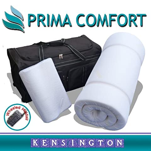 Prima Comfort Travel Memory Foam Mattress Topper set - The Kensington -7 DAY MONEY BACK GUARANTEE!!! includes Memory Foam Travel Pillow and Wheeled holdall bag! (Mattress 190cm x 70cm x 5cm)
