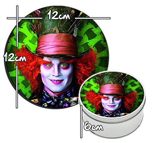 Alicia En EL Pais De Las Maravillas Alice In Wonderland Johnny Depp Mad Hatter Tim Burton Runde Metalldose aus Zinn Round Metal Tin Box