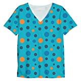 Snoogg Colorful Spots In Blue Pattern Mens Casual V Neck All Over Printed T Shirts Tees