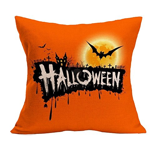 VEMOW Halloween Party Dekoration Kissenbezug Sofa Taille Mode Werfen Kissenbezug Home Decor(Gelb 6, 45cm*45cm)