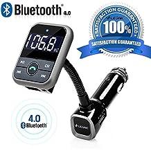 [Versione migliorata]LEONC 5 IN 1 Bluetooth Trasmettitore FM da auto con Chiamata Vivavoce & Controlli (Frequenza Completa Trasmettitore Fm)