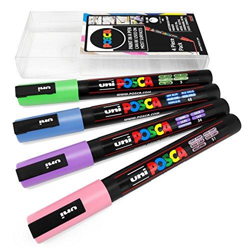 Uni Posca - Set di 4 pennarelli PC-3M per decorazioni artistiche, in custodia di plastica, colori pastello