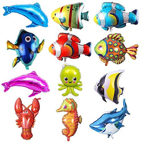 Puselo 12pcs Large Fish Foil Balloons Sea Animal Balloons Sea Creatures Tropical Fish Balloons for Kid Birthday Party Decorations