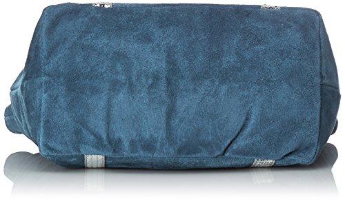 CTM Handtasche der Frau aus echtem weichem Wildleder in Italien - 43x34x18 Cm Blau (Blu jeans)