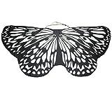 Overdose Damen Faschingskostüme Kinder Mädchen Jungen Butterfly Wing Cape Schmetterling Flügel Kostüm Schmetterlingsflügel Erwachsene Karneval Kostüm Kimono Schal Cape Tuch (147*68CM, B-Black)