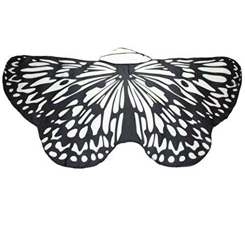 (Overdose Damen Faschingskostüme Kinder Mädchen Jungen Butterfly Wing Cape Schmetterling Flügel Kostüm Schmetterlingsflügel Erwachsene Karneval Kostüm Kimono Schal Cape Tuch (147*68CM, B-Black))