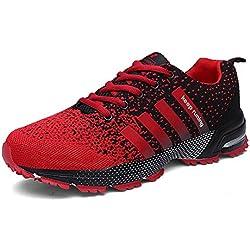 Laufschuhe Retwin Turnschuhe Straßenlaufschuhe Sneaker mit Snake Optik Damen Herren Sportschuhe Rot 42