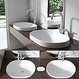 SoGood Brüssel5006A Einbauwaschbecken Waschschale, Waschtisch, aus Keramik, weiß BTH: 58x40x17,5cm inkl. Nano-Versiegelung, oval