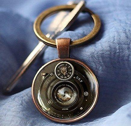 Vintage Kamera Schlüsselbund, Kamera Objektiv Schlüsselanhänger, handgefertigtes Glas Schlüsselanhänger, Schlüsselanhänger, Fotograf, Fotografie, Geschenk, Schlüsselanhänger für Herren (Day-karte-autos Valentines)