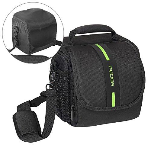 PEDEA 'Essex' SLR-Kameratasche mit Regenschutz, Tragegurt und Zubehörfächer Gr. M, schwarz/grün
