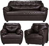 FabHomeDecor Rosabelle Five Seater Sofa Set 3-1-1 (Brown)