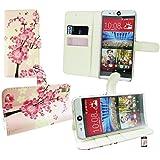 Emartbuy® HTC Desire Eye Brieftaschen Wallet Etui Hülle Case Cover aus PU Leder Rosa Blossom mit KRotitkartenfächern
