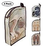 Housses chaussures - Voyage Avion 4-Pack imperméable avec fermeture éclair pour les hommes et les femmes (transparente)