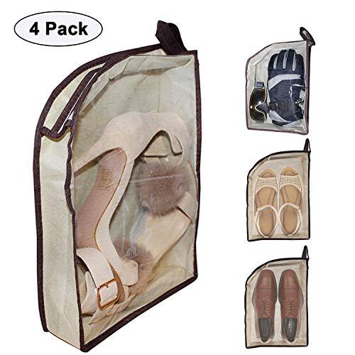 Belle Vous BELLE VOUS 4Pcs Schuhbeutel - Portable Schuh Veranstalter Taschen für Reisen - Staubdicht Sport Schuhbeutel Large Size - Wasserdicht Transparente Schuhbeutel für Trekking, Business Tour, Picknick