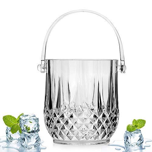 SRUI Flaschenkühler aus Glas, Durchsichtige Weinkühler Getränke Eimer Wein Kühler Eiswürfelcontainer Mit Griff-klar 13x14cm(5x6inch)