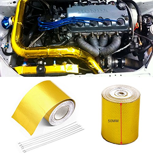 Orel_carparts 10M X 5CM Gold Aluminiumfolie Hitzeschutzband Selbstklebend Auspuff Krümmer Reflektierend Hitzeschutz Tape Band Rolle mit 6 Stk Kabelbinder (10M X 5CM)