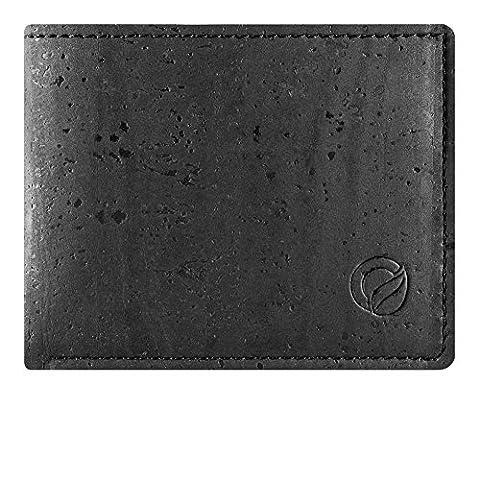 Bifold Slim Men's Wallet, Front Pocket Minimalist Vegan Wallet Made from Durable Cork Black