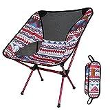 Silla Plegable de Camping Muy Ligera y Compacta Perfecto para Senderismo, Camping, Playa Pesca (Peso Neto Sólo 1 kg, Capacidad de Peso 150 kg) (Rojo)