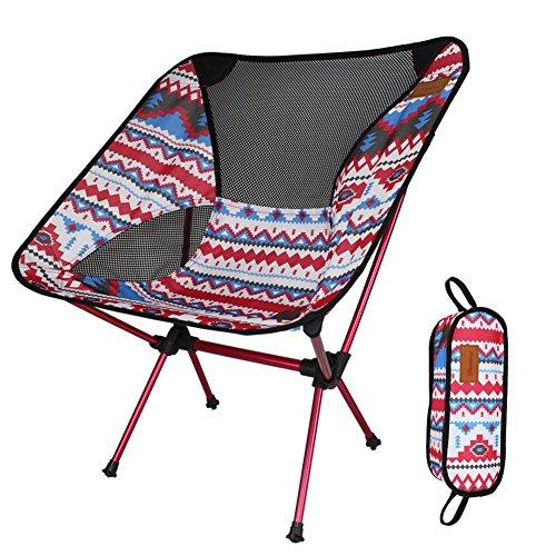 Camping Stuhl Klein Leicht Stabile Faltstuhl Perfekt für Erwachsene und Kinder beim Strand, Wandern, Camping, Urlaub, Terrasse, Picknick oder einfach nur vor dem Fernseher(Nettogewicht nur 997g, Gewicht Kapazität 150Kg) (Rot)