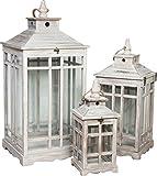 Set 3 lanterne in legno finitura bianca anticata 33x33x74 + 25x25x56 + 17x17x40 cm
