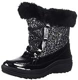 Anne Klein Women's Gayla Winter Boot Snow, Black/White, 6 M US