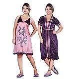 FDT Peach Short nighty with purple robe