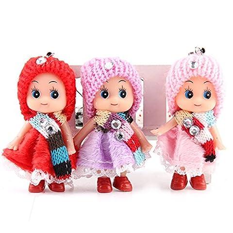 Gazechimp 8cm Mädchen Mit Schal Mini-Baby-Puppe Handycharmebügel Schlüsselanhänger Taschenanhänger Geschenk zufällig Farbe