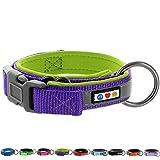 PAWTITAS Weiches, verstellbares, reflektierendes Hundehalsband, Gepolstertes Hundehalsband Klein Lila