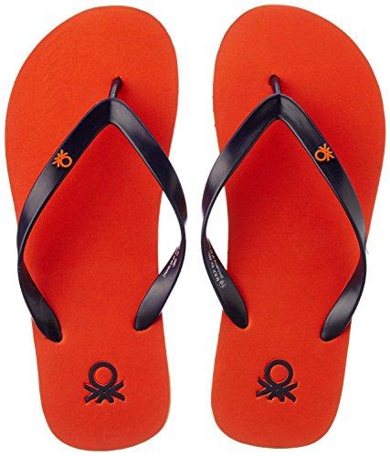 United Colors of Benetton Men's Basic 1 Orange and Navy Flip-Flops and House Slippers - 6 UK/India (39 EU)