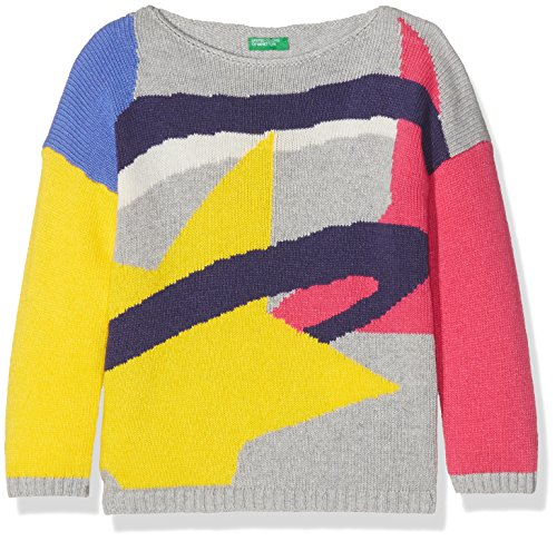 United Colors of Benetton United Colors of Benetton Mädchen Sweatshirt Sweater L/S, Mehrfarbig (Multicolor (Grey, Pink, White, Blue, Yellow) 501), 82 cm ( 1 jahre )