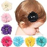 Fermaglio per capelli a forma di fiore, per bambine, 5 cm di diametro, in chiffon, con strass, confezione da 18 pezzi