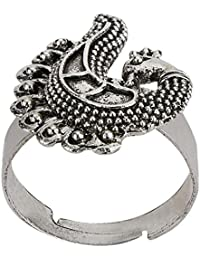Efulgenz Oxidised Silver Finish Fancy Party Wear Peacock Adjustable Ring For For Girls And Women