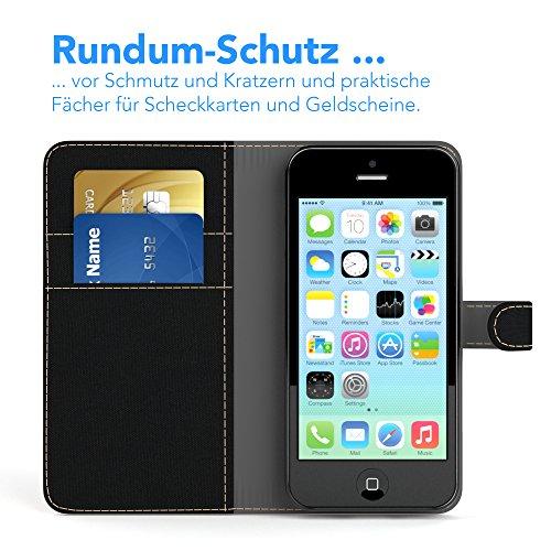 Apple iPhone 5C Tasche, EAZY CASE Book-Style Case Uni, Premium Handyhülle mit Kartenfach, Schutzhülle Geldbeutel mit Standfunktion, Wallet Case, Etui mit Kartenfach in Gelb Schwarz - Denim